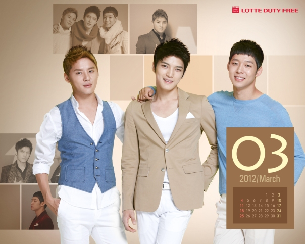 [Picture] Hình nền JYJ cho tháng 3 của Lotte Duty Free