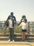 Yoochun và Han Ji Min chụp hình chung trong 'Rooftop Prince'